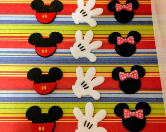 Mickey and Minnie Mouse Cake Toppers - Mickey Mouse Cake Mickey Fondant - Minnie Fondant - Fondant Mickey Glove - Kids Birthday Cake Topper