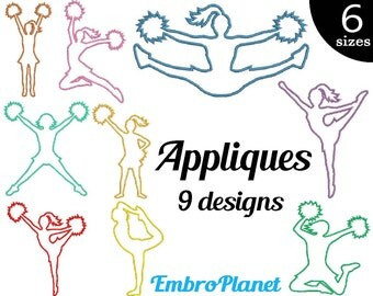 Applique Cheer Girls - Designs for Embroidery Machine Instant Download Digital File Graphic Stitch 4x4 5x7 inch hoop cheering pom dance 546e