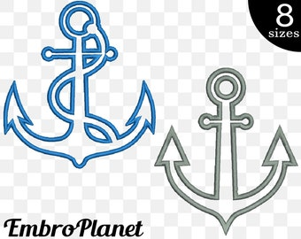 Anchor Appliques - Designs for Embroidery Machine Instant Download digital file graphic satin stitch 4x4 5x7 inch hoop nautical ship 602e