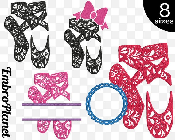 Zentangle ballet shoes designs for embroidery machine