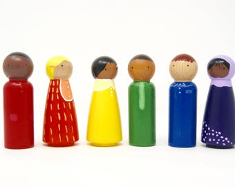 Rainbow Pegs- painted peg dolls (set of six)