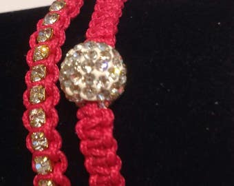 Handmade Macrame bracelats,Dark Pink Bracelet,Rhineston Chain.8mm Rhinestone bead,Pink Macrame Cord, Macrame Bracelet,Chain Macrame Bracelet