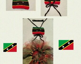 Infant Girls' Crochet Bandeau Top, Tutu & Headband (St Kitts and Nevis)