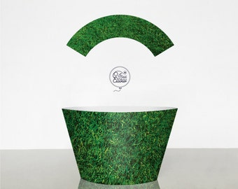 Green grass cupcake wrapper