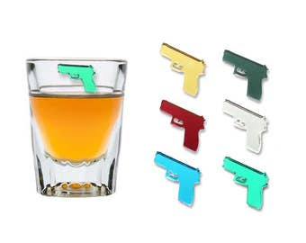 Mirror Gun Magnetic Drink Markers | Set of 6 | Stemless Wine Tags Wine Glass Charms by Claim Your Glass | Great for Parties!