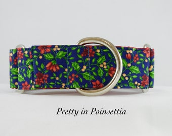 Pretty in Poinsettia Dog Collar: Available in Buckle or Martingale Adjustable Collar. Perfect for winter, holidays and Christmas,