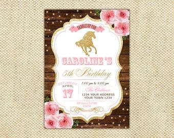 Horse Birthday Invitation. Floral Birthday Invite. Pink Gold Horse Birthday Invitation. Cowgirl Country Horse Birthday Invitation. Rustic.