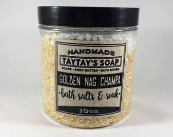 Nag Champa Bath Salts & Soak - Golden Nag Champa - Bath Salts - Bath Soak - Incense - TayTaysSoap - Bath Salts
