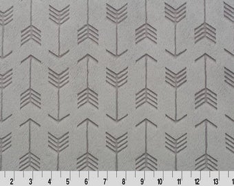 Shannon Minky Fabric, Shannon Cuddle Minky, Steel Embossed Arrow Cuddle Fabric, Arrow Minky Fabric, Steel Arrow Fabric, Fabric By The Yard