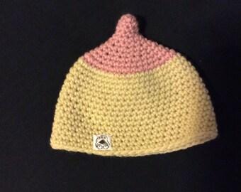 Newborn, Breastfeeding crocheted baby beanie.