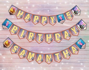 Sing banner - DIY pets happy birthday banner- thank you card- Digital file for print
