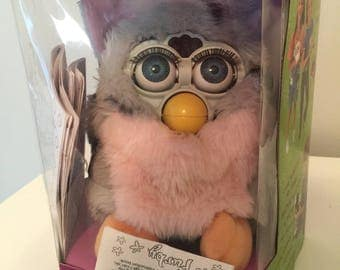 Vintage Furby Pink and Gray w/Blue Eyes and Pink Ears