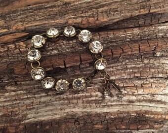 Antiqued Brass Rhinestone Bracelet