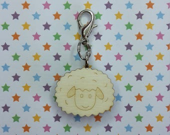 Sheep wooden progress keeper - knitting notions - charm