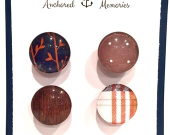 Handcrafted Glass Magnets - Set of 4 - Plaid, Wood Grain & Navy Magnets| Holiday Gift | Party Favors | Stocking Stuffer