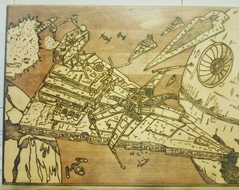 Star wars Battle above Endor wood plaque