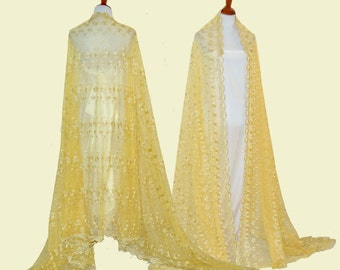Yellow lace capes, bridal long bolero, wedding lace poncho, embroidery lace cape, bridal lace shawl, long bridal cape, glamorous lace cape