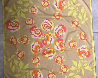Vintage Jacqmar Scarf bold yellow pink floral 1970s