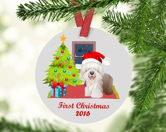Bearded Collie Ornament - Bearded Collie Christmas Ornament - Bearded Collie - Bearded Collie First Christmas- Bearded Collie Gift