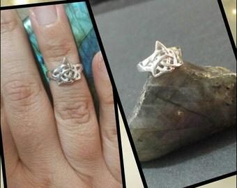 Silver ring wicca pagan Goddess pagan Paganism triquetra adjustable midi jewelry jewelry