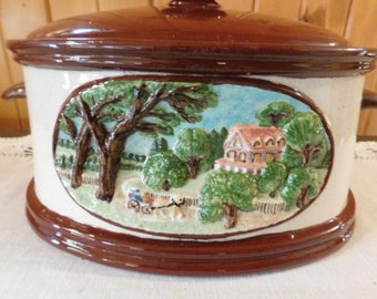 MCM Stoneware Casserole SERVING Dish with Cover Large 3 -4 Quarts  - A+ CONDITION