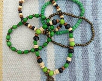 Set of 5 bracelets with wooden beads
