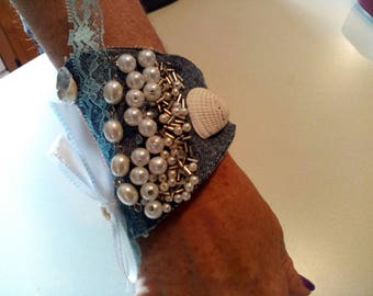 shell embellished denim bracelet