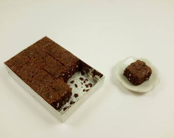 Miniature brownies, dollhouse chocolate cake, dollhouse miniatures, miniature food, dollhouse food, 1:12 scale, dollhouse kitchen