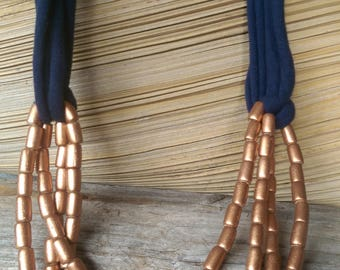 Bronze wooden bead and navy t-shirt yarn necklace