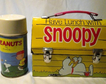 1968 Go To School With Peanuts Lunch Box with Thermos