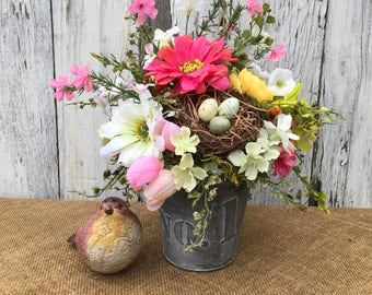Spring Floral Arrangement with Bird Nest, No 1 Tin Floral Arrangement, Wedding Centerpiece, Pink, White and Yellow Floral Arrangement,