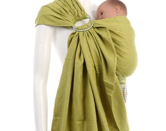 SALE 15% OFF Ring Sling - Gold-Green Ring Sling - Woven Baby Wrap - Ring Sling Baby Carrier
