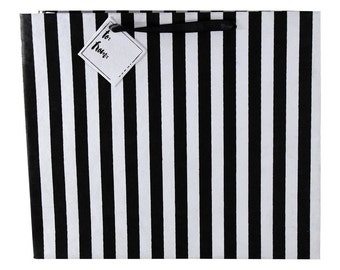Black and White Striped - Recycled Gift Bag