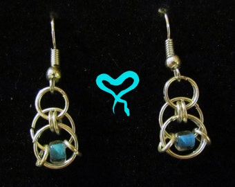 Simple Silver Chainmail Earrings