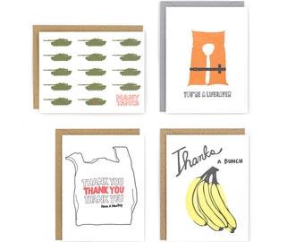 Set of 4 Letterpress Thank You Cards