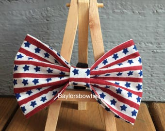 fourth of July dog bow tie, Patriotic dog bow tie