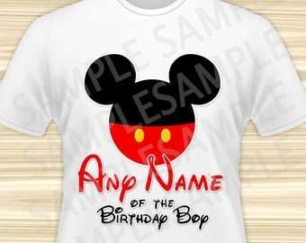 Mickey Mouse Any Name of the Birthday Boy Iron On. Mickey Mouse Birthday Iron On Transfer. Mickey Mouse Birthday Shirt. DIGITAL FILE.