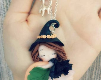 Fimo necklace witch witch halloween pumpkin necklace polymer clay