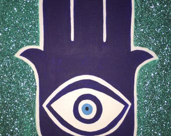Hamsa Acrylic Paint, Nazar Boncuğu, Sparkling Hamsa, Hand of Mririam, Hamsa Wall Art, Hand of Fatima, Yoga Studio Decor, Evil Eye Charms