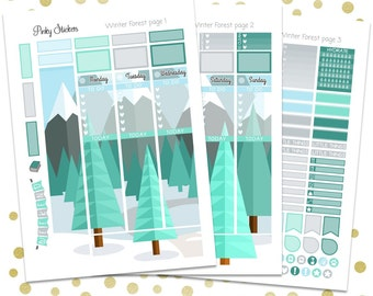 Winter Forest Weekly Picture Kit for Erin Condren   Printable   Includes Blackout Files for Easy Cutlines