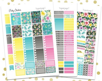 Tropical Weekly Kit for Erin Condren   Printable   Includes Blackout Files for Easy Cutlines