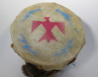 Vintage Native American Small Drum Rawhide Souvenir Bird and Buffalo Double Sided with Tag Handmade by Cherokees
