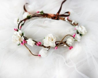Elegant Flower Crown, White Rose Headband, Photo Prom Head Wreath, Girl Birthday Hair Accessory