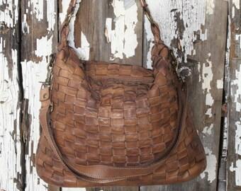 Soft Brown Italian Leather Woven Handbag Thick Strap