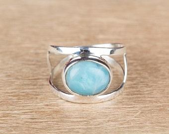 Larimar Ring, Larimar Dailywear Ring, 925 Sterling Silver Ring, Larimar Adjustable Ring, Larimar Gemstone Jewelry, Larimar Vintage Ring
