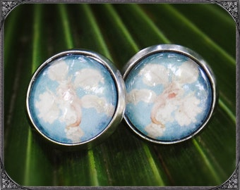 Stainless steel earstuds light Blue Orchid