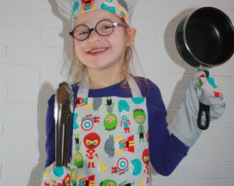 Entire apron, hat and mittens for children
