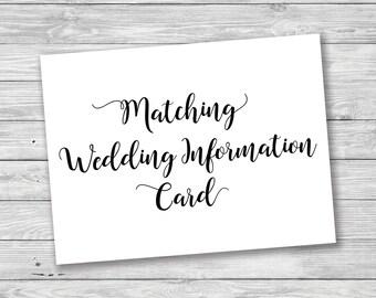 matching wedding information card additional information card direction card wedding info card