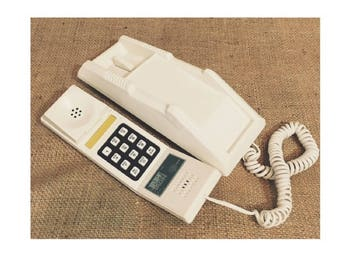 Vintage 80's Push Button Phone Wall Mount or Desk Off White F-15 Trim Tron Super Nice Clean Works, Prop phone,