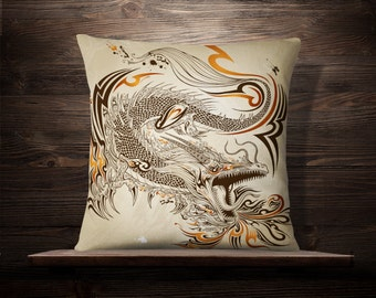 Dragon Doodle Sketch | Asian Throw Pillow | Chinese Pillow | Japanese Pillow | Asian Throw Pillow | Asian Decor | Martial Arts | Kung Fu